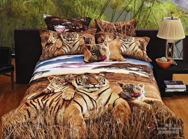 3D Brown Tiger Bedding Comforter Set Queen Size Bedspread