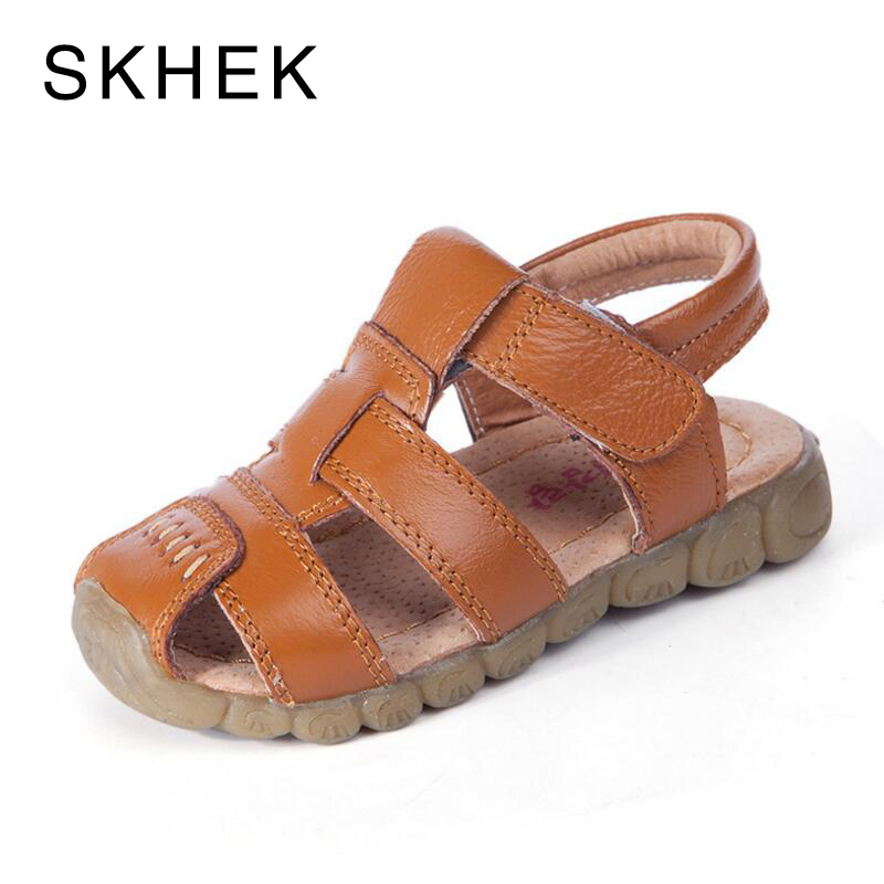 SKHEK Summer Brand Children Boys Sandals Toe Cap Genuine Leather Kids Sandals Textile Flag Casual Sport Sandals for Little Boys