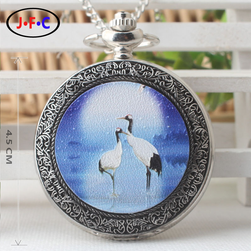 Retro Trend quartz pocket watch Red-crowned crane Patch pocket watch Middle aged and old age Flip Watch DS288 european and american movies aladdin and the magic lamp quartz pocket watch do the old flip quartz watch chain table ds274