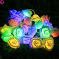 Rose Flower String 20 LED Lights Chain Wedding Garden Party Christmas Decoration Battery Powered Fairy Firefly Garlands