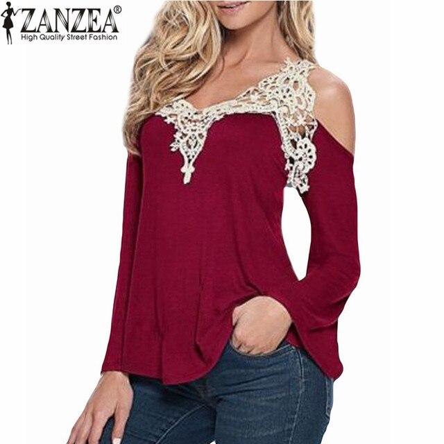 2018 nueva zanzea mujeres Blusas sexy de blusa de hombro elegante Encaje V  Masajeadores de cuello ac77c335acb