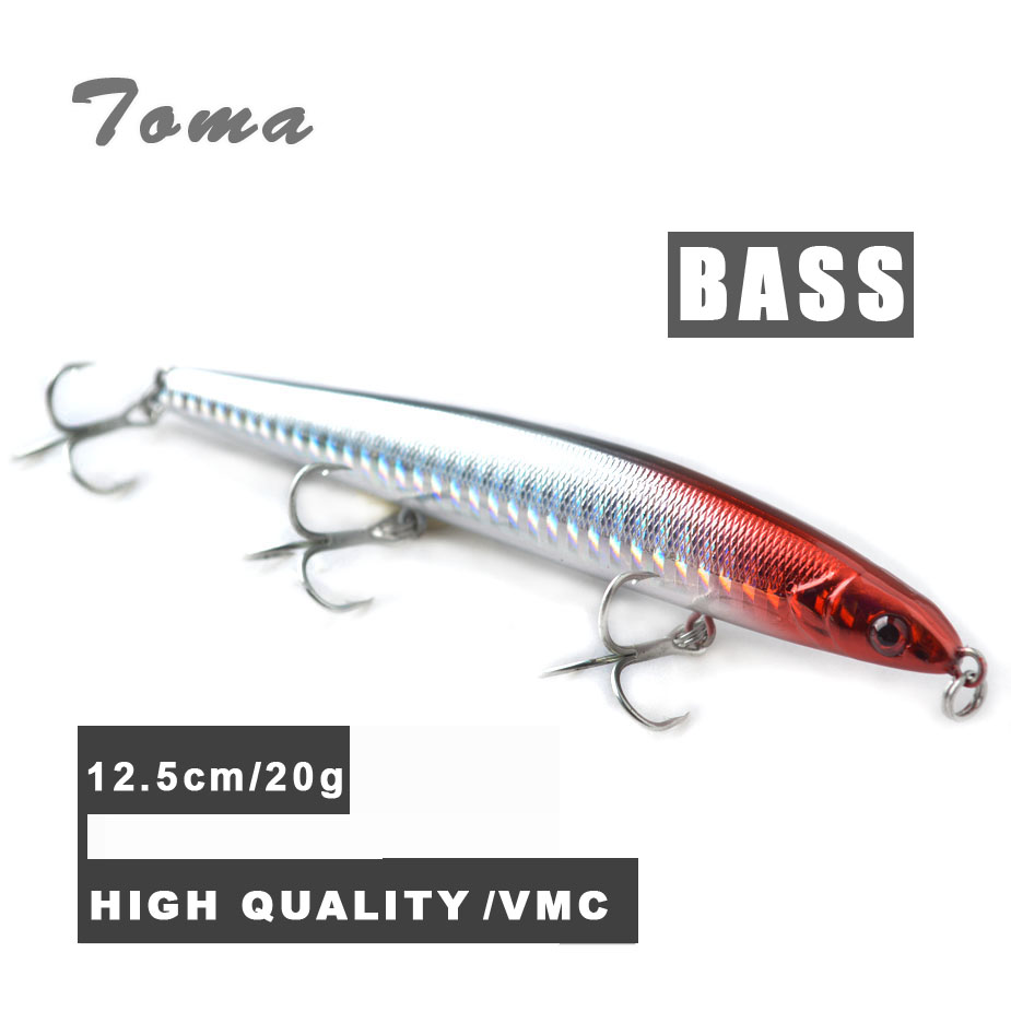 TOMA Sinking Pencil Minnow Fishing Lure Wobbler 20g/125mm All Depth Plastic Hard Bait Bass Fishing Lures 3 VMC Hook