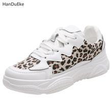 2018 New Small White Shoes Female Pu Sexy Comfortable Korean Leisure Sports Leopard Stripe Board
