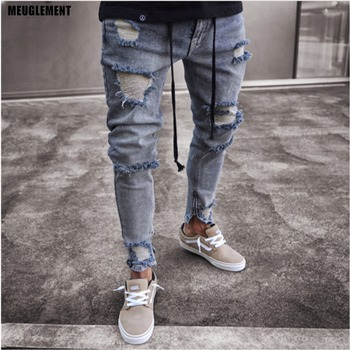 Knee Holes Washed Destroyed Jeans
