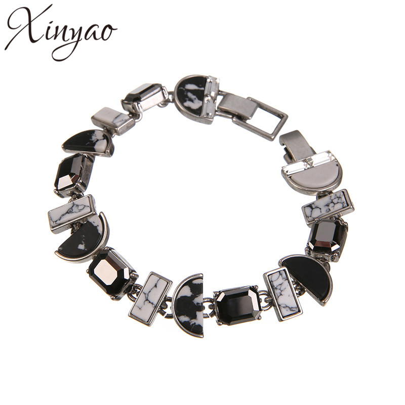 XINYAO 2017 Fashion Geometry Resin Crystal Bracelets For Women Silver Color Chain Bracelet Statement Pulceras Para