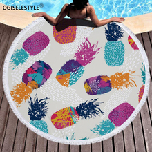 Ogiselstyle, круглое пляжное полотенце, Йога, ананас, напечатано, микрофибра, полотенце для душа, круг, Богемия, банное полотенце, s коврик-шарф, платье для загара