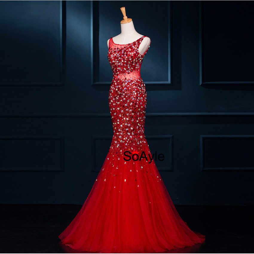 ... SoAyle Mermaid Luxury Beading Crystald Elegant Long Evening Dresses  Real Photo Vestidos De Festa 2017 Robe ... 303a64caf0a7