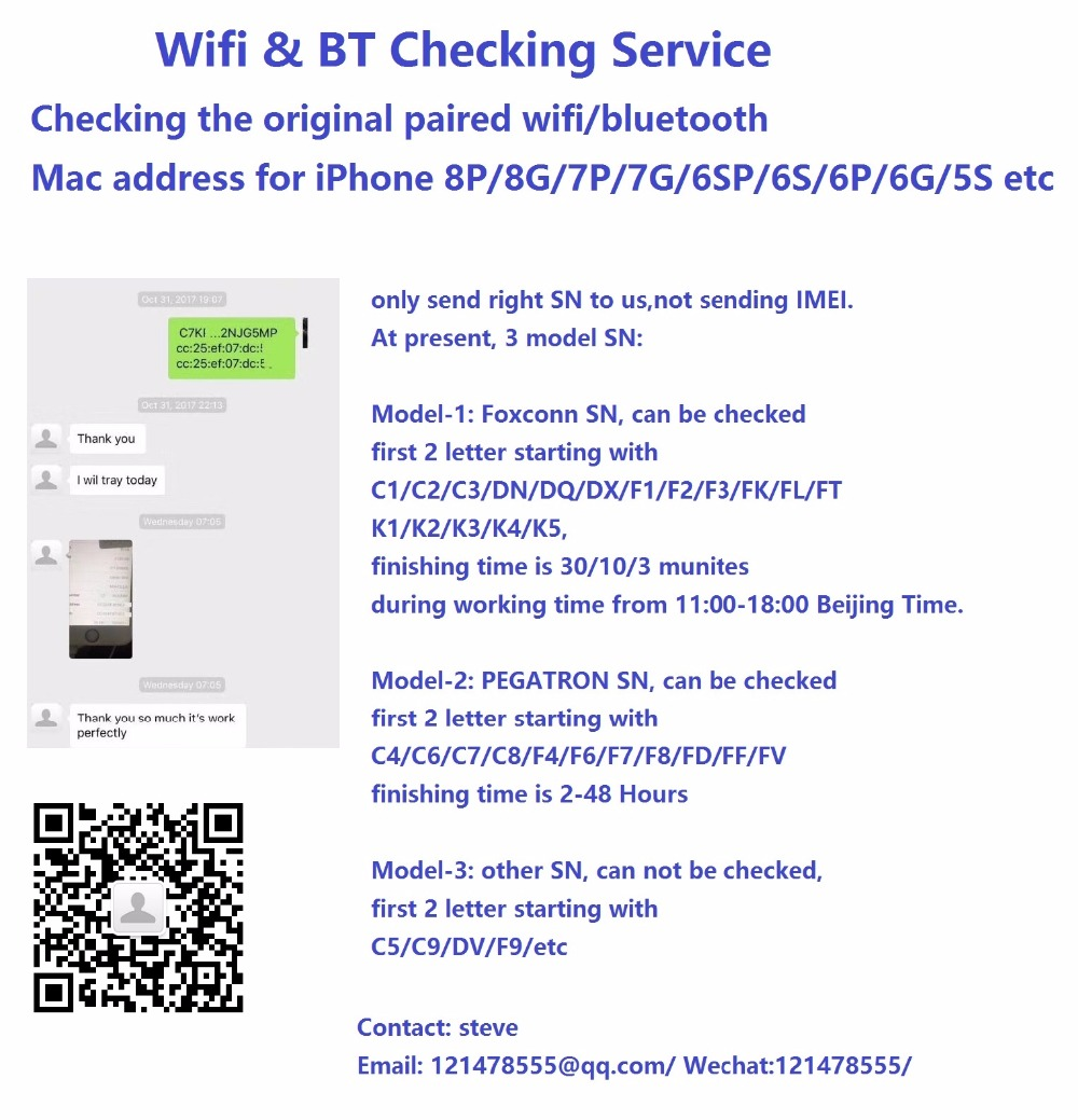 SN Wifi & BT Check for xs x iPhone 8P/8G/7P/7G/6SP/6S/6P/6G/5S the original wifi/bluetooth Mac address for PEGATRON Foxconnservicesnservice the -
