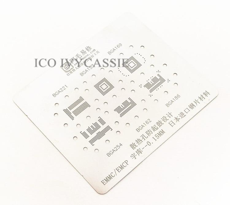 for emmc bga221 153 169 254 162 186 bga stencil reballing pins bga direct heating template 0