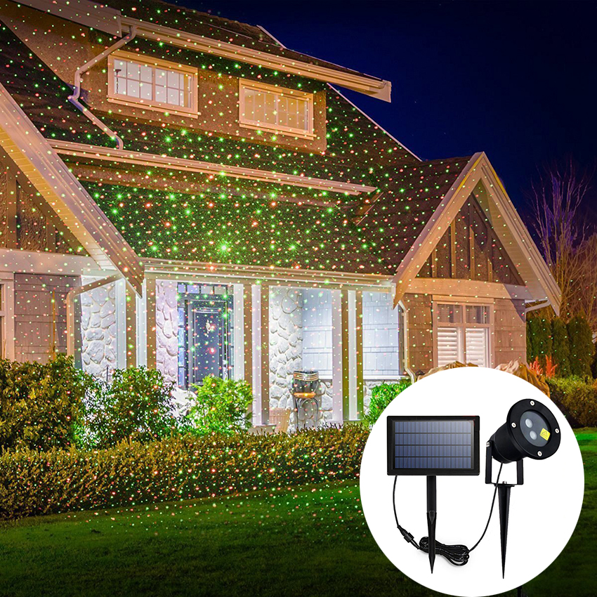 LED Solar Outdoor Waterproof Red and Green Sky Star Show Laser Projector lamp Home Garden Christmas