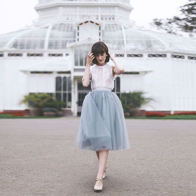 Graceful Gray Tulle Skirts A Line Mid Calf High Waisted Midi Pleated Womens Adult