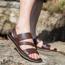 2019 Hakiki Deri Sandalet Erkekler Yaz Ayakkabı Yeni Moda Erkek plaj sandaletleri Inek Deri Ayakkabı Erkek siyah ayakkabı A1454