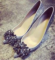 Hot Selling Bling Bling Silver Black Glitter High Heel Pumps Crystal Embellished Point Toe Sexy Stiletto