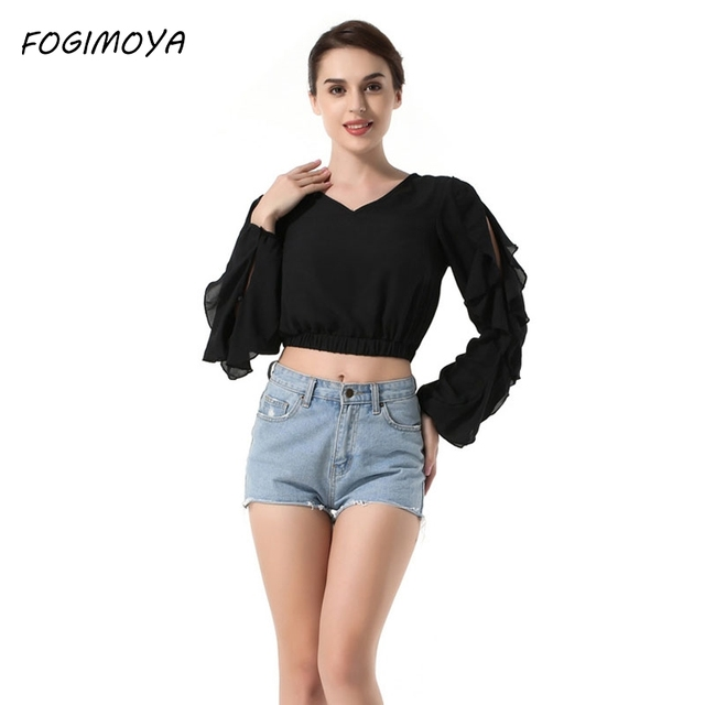 FOGIMOYA Short Blouses Women Summer 2018 Fashion Chiffon V Neck Leaky Navel Tops  Womens 2018 Full. Mouse over to ... 7459b7d4c71d