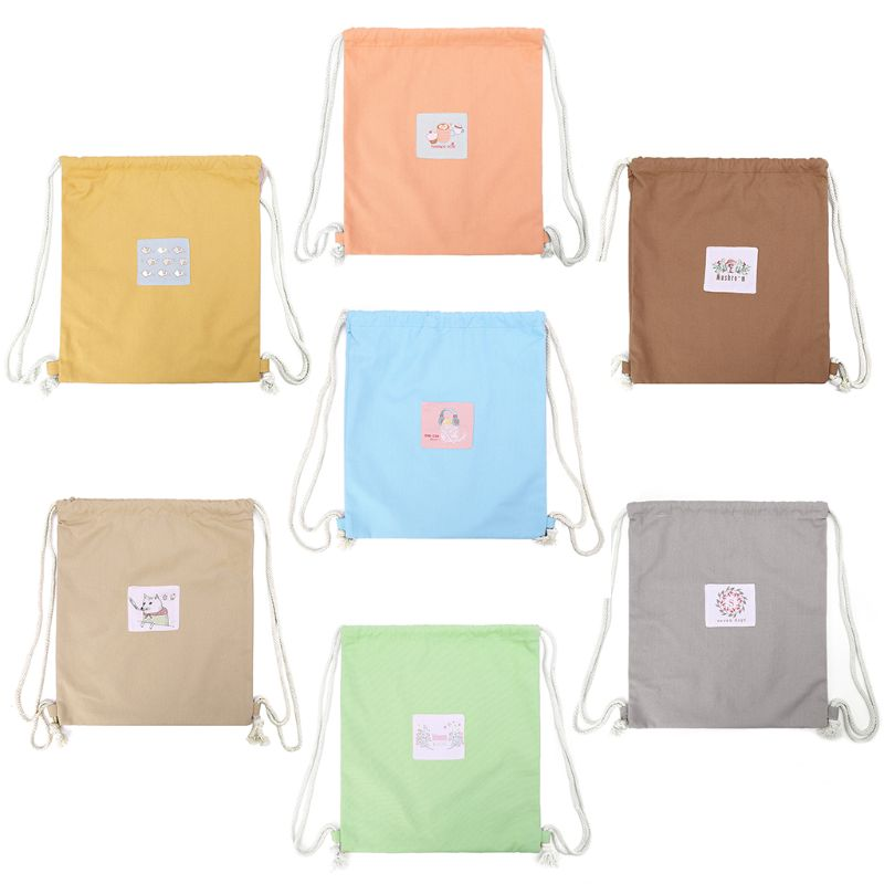 1Pc Women Printing Drawstring Bag Cinch Sack Storage Shopping Travel Bag Backpack Drawstring