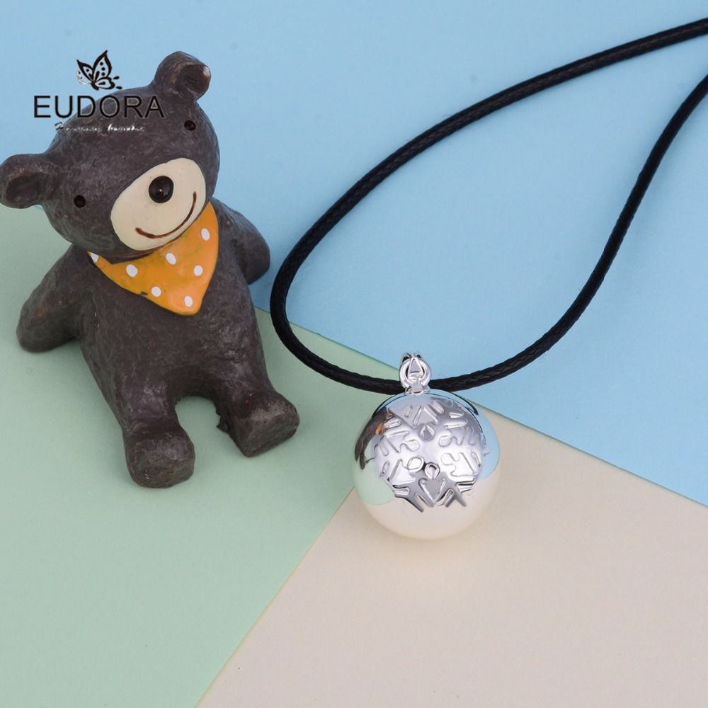 Christmas Snow Flake Eudora Harmony Bola Chime Ball Copper Pregnant Necklace Jewelry Angel Caller Pendants Mum To Be Gift
