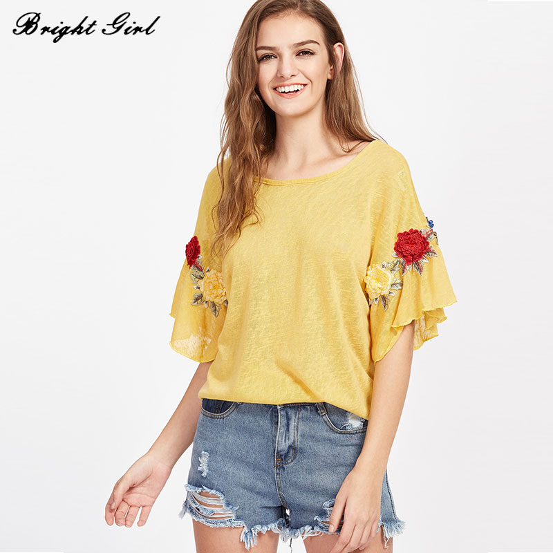 BRIGHT GIRL Yellow Shirt Summer Tee Shirt Femme Floral Embroidery t shirt  Women Casual Clothes Loose O Neck White Yellow T-shirt d1ffacc39640