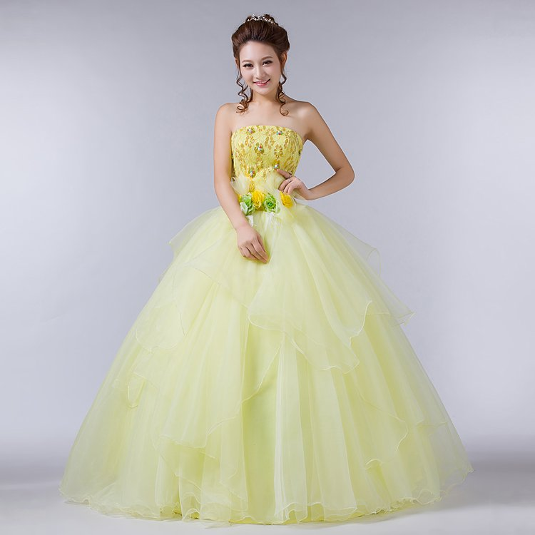 Popular Yellow Quinceanera Dresses-Buy Cheap Yellow Quinceanera ...