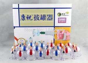 Image 2 - Tanie chiński Vacumm zestaw do baniek Kit medyczne Kangzhu 24 puszki kubki do ciała ssania aparatura próżniowa terapia krzywa pompy ssące