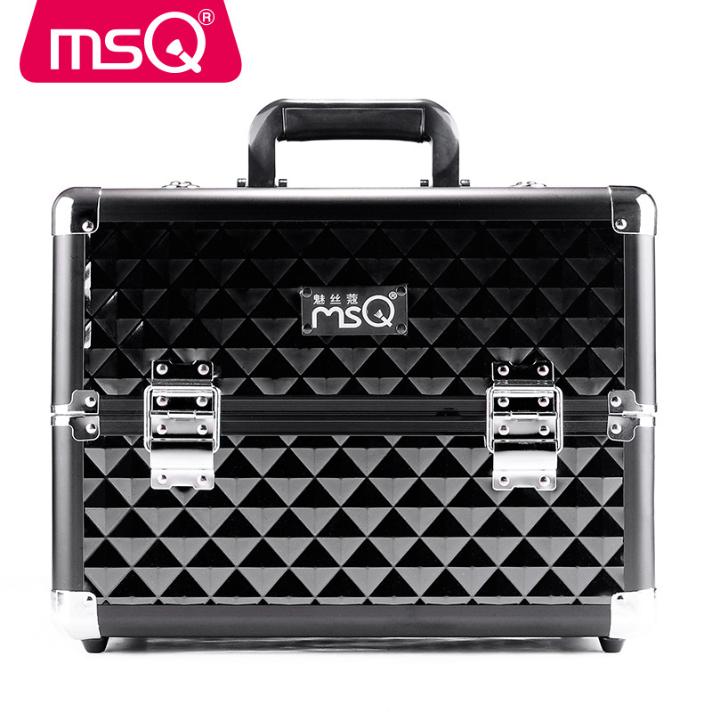 MSQ Beauty Case Professional Makeup Suitcase Makeup Box Aluminium Alloy Hand Shoulders Multilayer Large Capacity Makeup Box