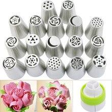 17 unids/set flower icing piping boquillas consejos de decoración de pasteles para hornear herramientas kit rose floral piping boquilla de acero inoxidable a la venta