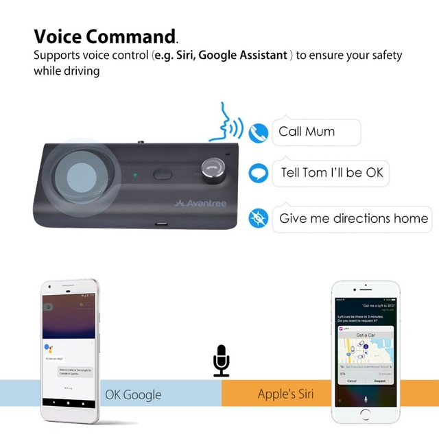 2018NEW Bluetooth Handsfree Visor Car Kit with Siri, Google Assistant Voice Command, Auto Power On Wireless In Car  speakerphone 1