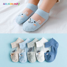 SLKMSWMDJ 2019 Summer Ice Silk Cartoon Baby Socks Mesh Thin Breathable Cotton Short Tube Children Boat
