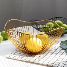 נורדי סגנון גיאומטרי צורת זהב ברזל אמנות פירות אחסון סל בית ארגון קערת קישוט כלי עבור ירקות קוסמטיקה