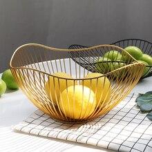 Iskandinav tarzı Geometrik Şekil Altın Demir Sanat Meyve Depolama Sepeti Ev Organizasyon Kase Dekorasyon Aracı Için Sebze Kozmetik