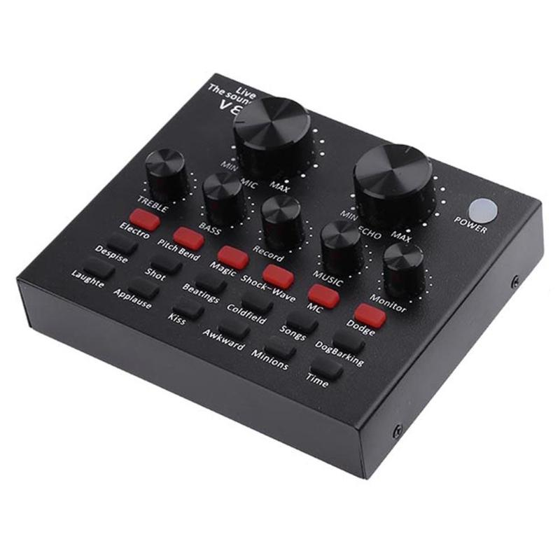 V8 Sound Card Mixer Audio Interface External Streaming USB Headset Microphone Broadcast Sound Card Mixer For Computer PC