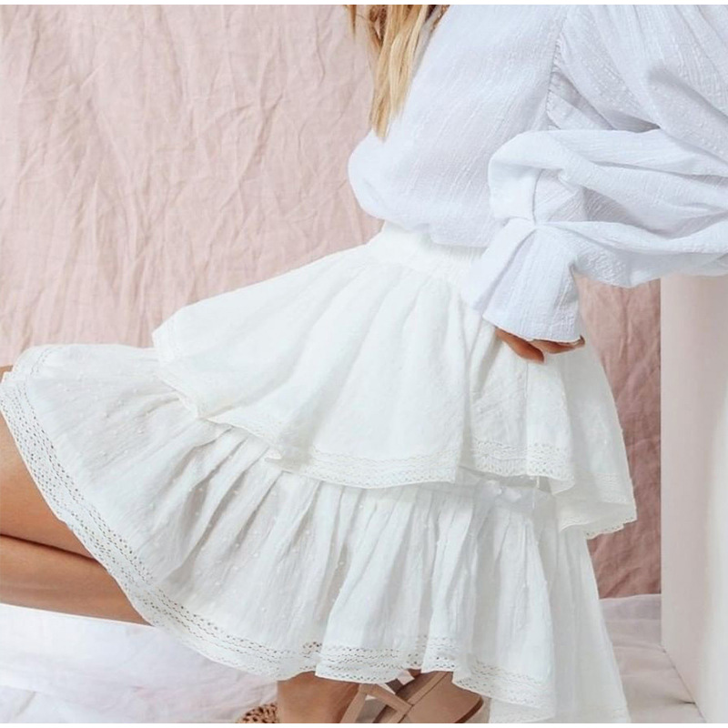 High Waist A-Line Mini White Skirt 2