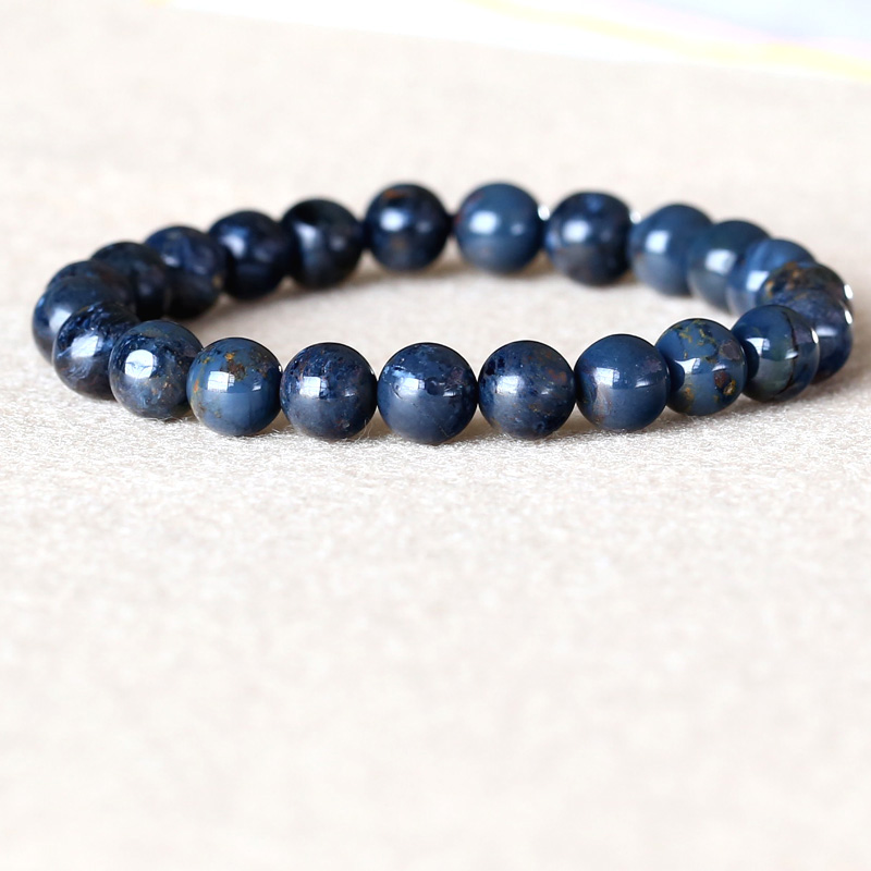 Genuine Natural Dark Blue Pietersite Namibia Stretch Bracelet Round Beads 8mm 05036 недорого
