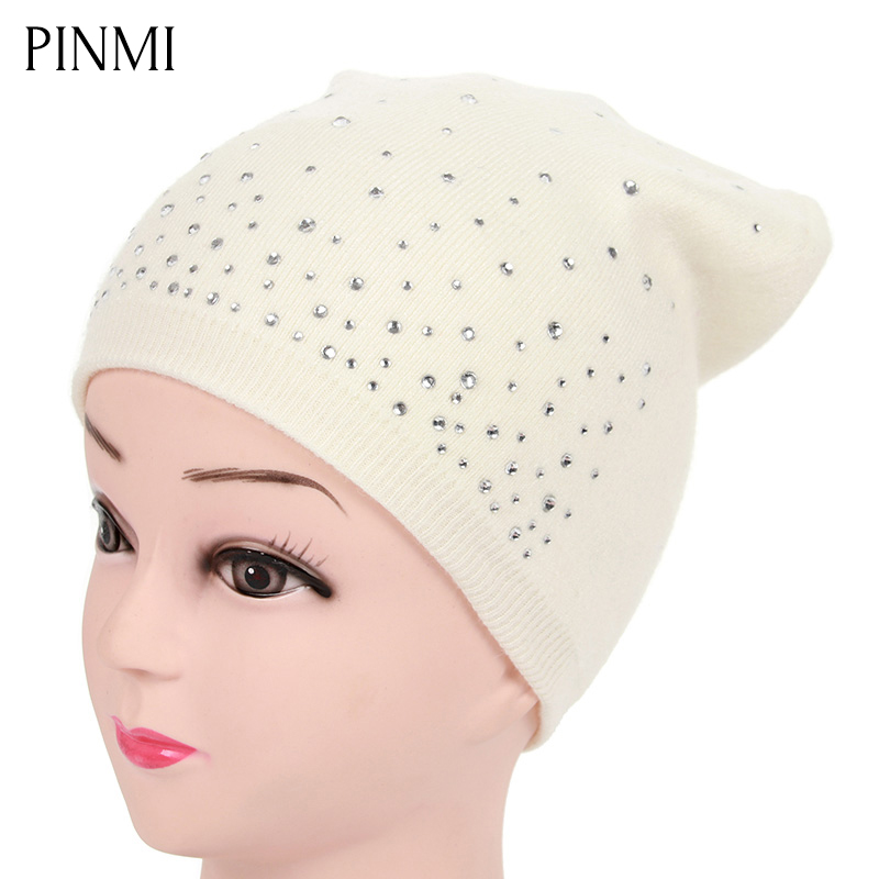 PINMI Women's Winter Hat Knitted Wool Skullies Beanies Female Fashion Shining Rhinestone Ski Cap Thick Warm Hats for Girls Women 2017 new fashion autumn and winter wool leaves hollow out knitting hat thick female cap hats for girls women s hats female cap