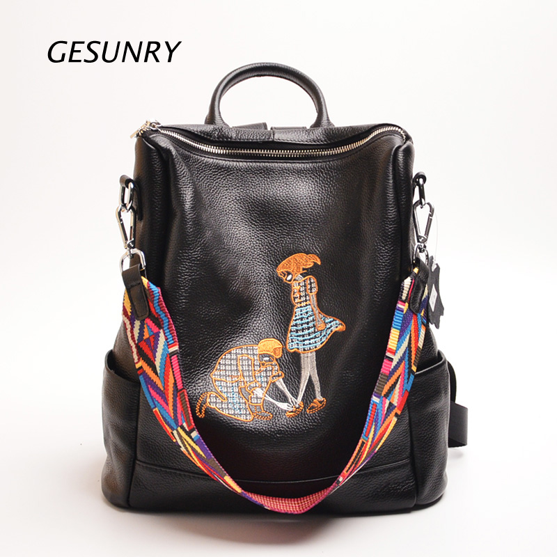 High Quality Women Character Backpack 100% Genuine Leather Teenager School Bag Vintage Natural National Travel School Bags hot sale women s backpack the oil wax of cowhide leather backpack women casual gentlewoman small bags genuine leather school bag