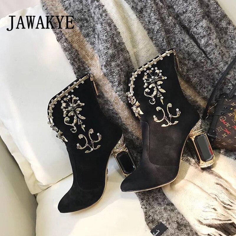Negro Invierno Bordado Zapatos Joyas Lujo Imitación Diamantes Black Tacón Cortas Genuino Ante Botas Mujeres Las Cuero De Cremallera La Alto 4AdnAqTx