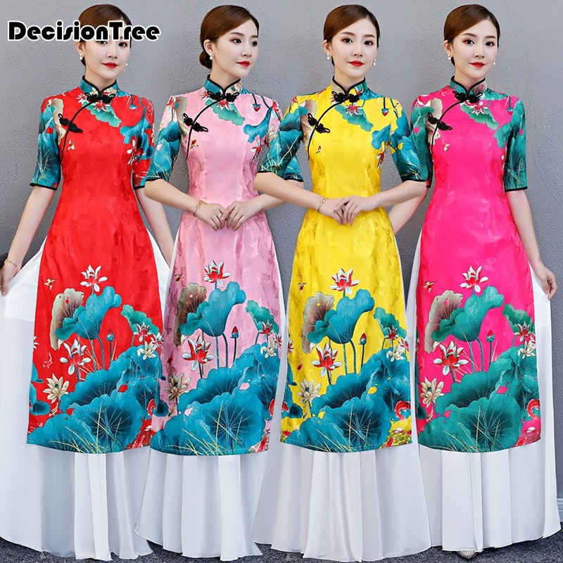 2019 White Woman Aodai Vietnam Traditional Clothing Ao Dai Vietnam Dress Vietnam Costumes Improved Cheongsam