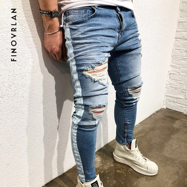 665389c3c07 Skinny Jeans For Men Distressed Stretch Ankle zipper Jeans Blue Ripped Skinny  Jeans hip hop Slim Fit stripe jeans Streetwear