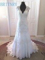 BRITNRY Charming Lace Wedding Dress V Neck Ivory Appliques Beading Mermaid Wedding Dresses Court Train Zipper