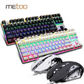 Profissional LED Backlit azul/preto interruptor Gaming Mecânica Teclado + Mouse combo set 3200 DPI gaming luz Rússia adesivos