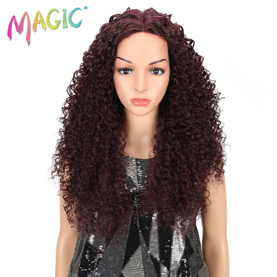 """MAGIC 26""""Inch Black Kinky Wave Hair Synthetic Lace Front Wig Heat Resistant Kinky Curly Hair Lace Front Wigs For Black Women"""