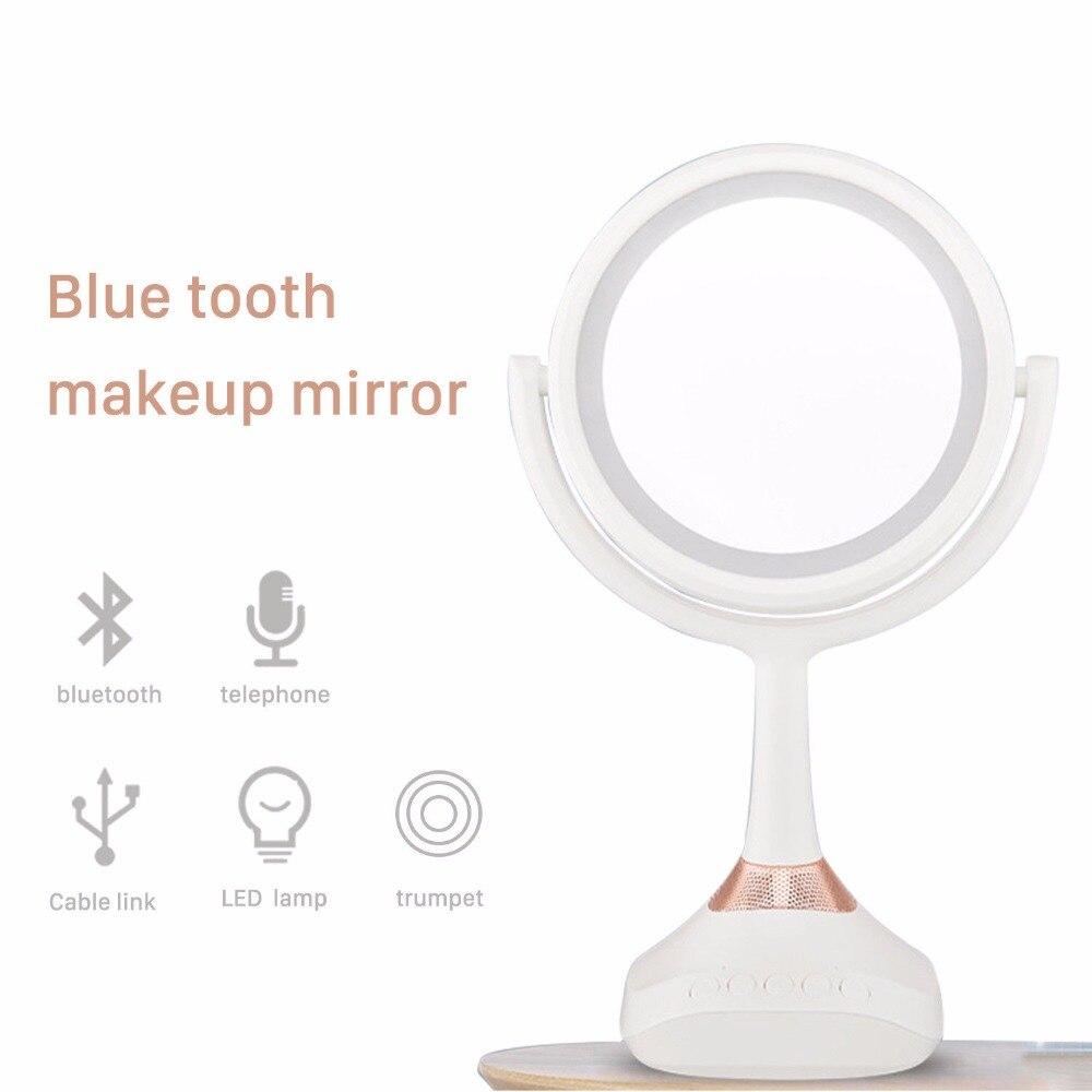 5x Eitelkeit Spiegel Mit Lichter Vergrößerungs Led Doppelseitige Make-up Spiegel Bluetooth Hände Mp3-bluetooth-freisprecheinrichtung Beleuchteten Make-up Spiegel Schminkspiegel Haut Pflege Werkzeuge