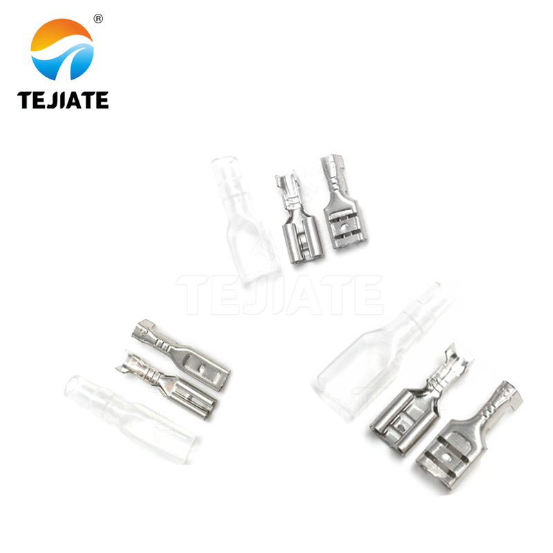 100Sets(200pcs) Female Spade Connector 2.8 /4.8 /6.3 Crimp Terminal with Insulating Sleeves For Terminals 22-16AWG
