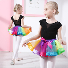 Free shipping Girls bubble dance skirt costume seven rainbow skirts gauze bow Tutu childrens Princess JQ-257