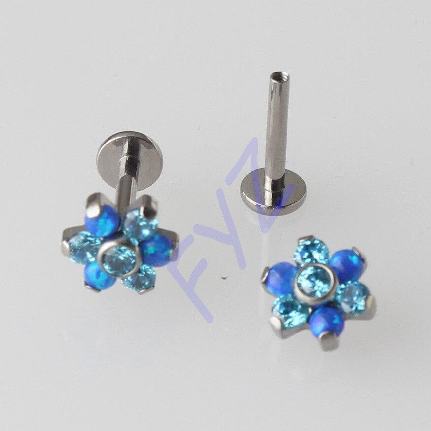 Opal And Zircon Flower Top G23 Titanium Ear Helix Tragus Stud Cartilage Earring Labret Lip Piercing