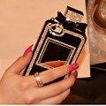 Botella de perfume de la cadena de lujo tpu case cubierta de bling del diamante del rhinestone para iphone 4 5S se 6 6 s plus 7 7 plus para samsung a8 a7 j2 j5