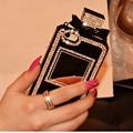 Tpu luxo cadeia frasco de perfume case bling rhinestone diamante capa para iphone 4 5S se 6 6 s plus 7 7 plus para samsung a8 a7 j2 j5