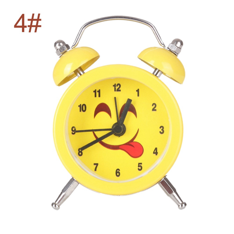Mini Emoji Facial Expression Metal Digital Alarm Clock Student Home Yellow Color Needle Alarm Clocks