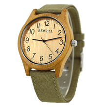 BEWELL men's wood watch case for man high quality wooden watches Canvas Band quartz wristwatch W124B