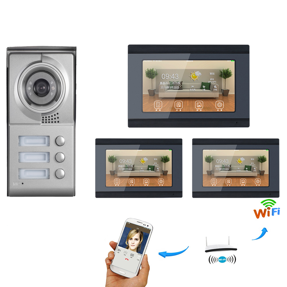 SmartYIBA APP Remote Control 2/3 Units Apartment Video Intercom 7 Inch Wifi Wireless Video Door Phone Doorbell Intercom System