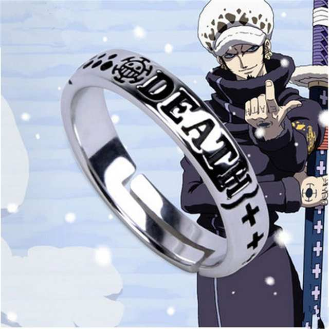 Us 33 99 Hot Anime One Piece Monkey D Luffy Death Trafalgar Law Ace 925 Sterling Silver Ring Cosplay Gift S925 Props On Aliexpress